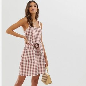 NWT ASOS gingham linen belted dress square neck